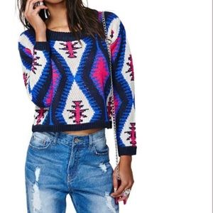 Reverse Electric Tribe Geometric Sweater